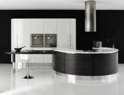 Diseño de barra circular de cocina color metal