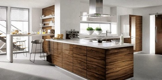 Diseño de barra de cocina de madera y tablero blanco