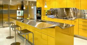 Diseño de hermosa barra de cocina brillante