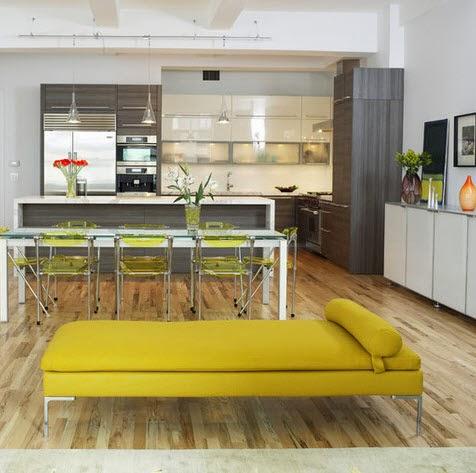 Diseño de moderna cocina mas barra