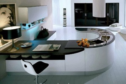 Diseño de moderna cocina ovalada con barra