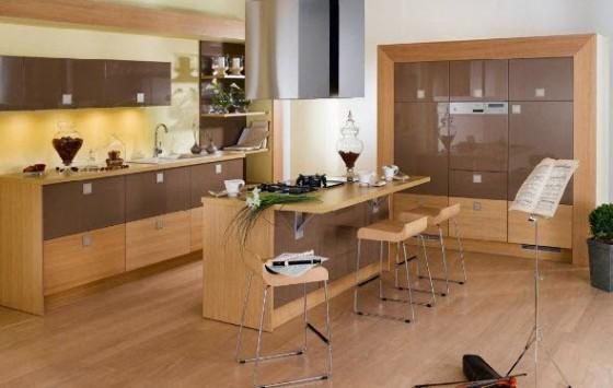 Diseño de moderna isla de cocina de madera