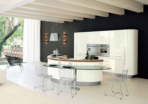 Isla de cocina de cristal para dos sillas