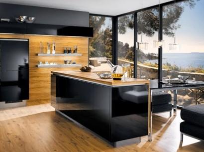 moderno diseño de barra de cocina color negro