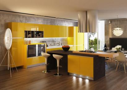 Cocina color amarillo con negro