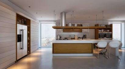 Cocina con contraste blanco y madera 2
