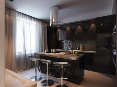 Diseño de cocina azulejos negros
