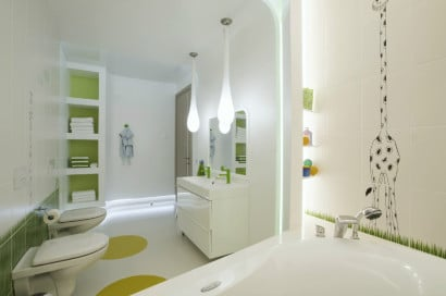 Diseño de cuarto de baño para niños moderno