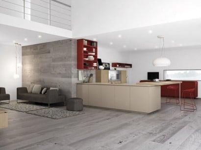 Diseño de cocina minimalista color gris con rojo 3