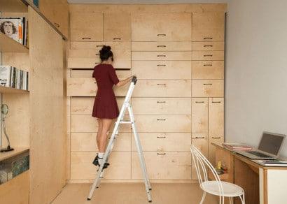 Diseño de cajones para módulo de madera de mini apartamento