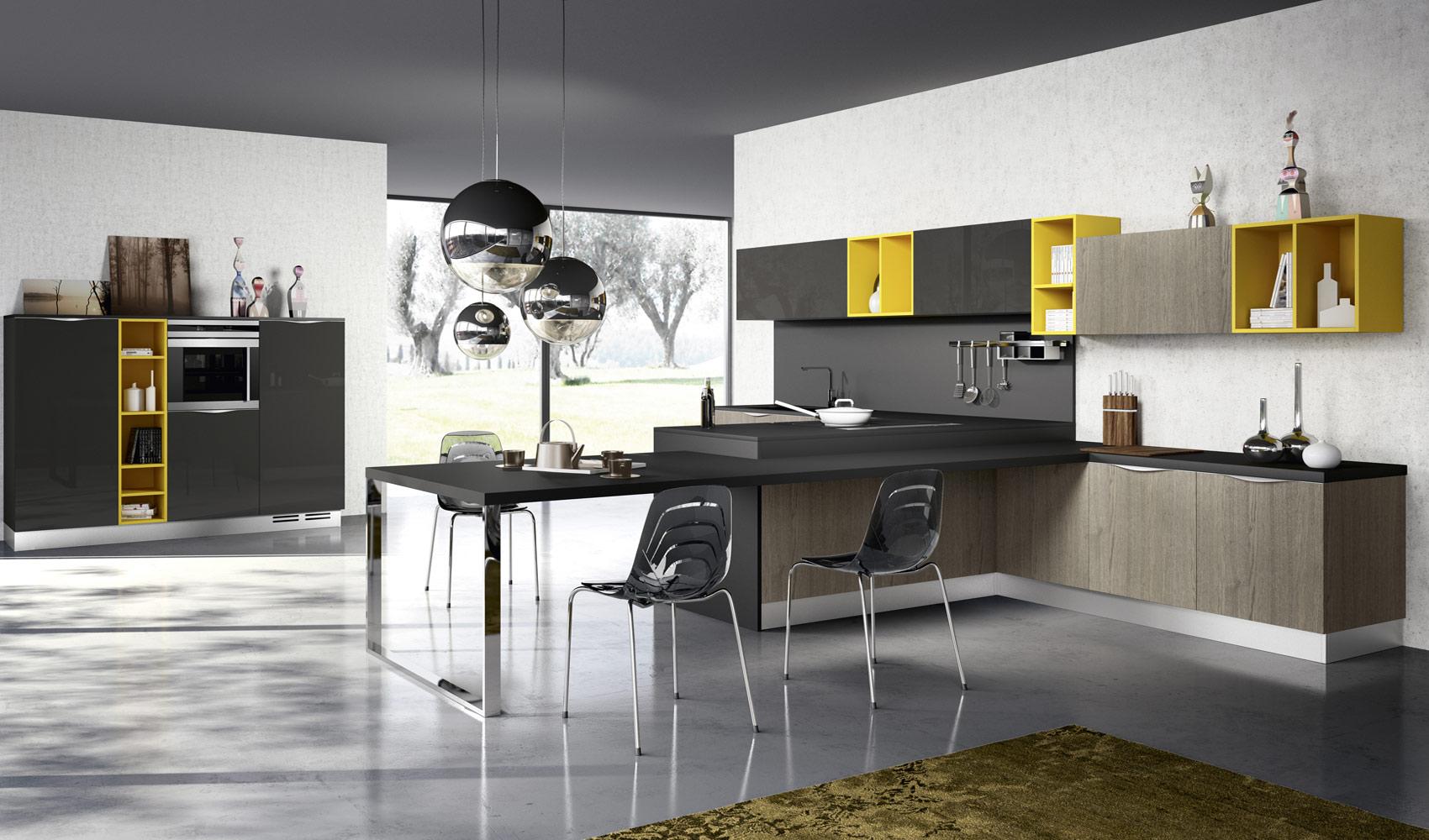 Dise o de cocinas modernas al estilo arte pop construye for Disenos de muebles de cocina colgantes