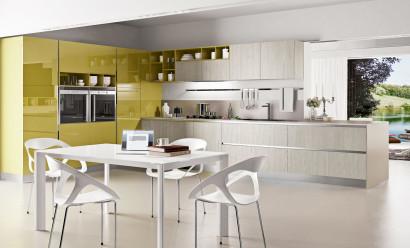 Diseño de cocina contemporánea de color amarillo