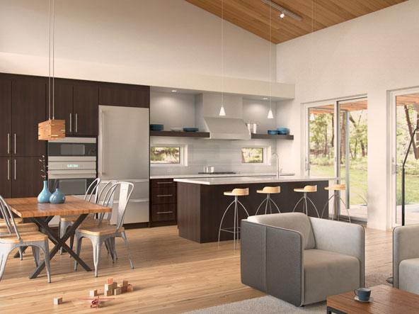 Dise o de casa moderna de un piso en forma de t for Ver interiores de casas modernas