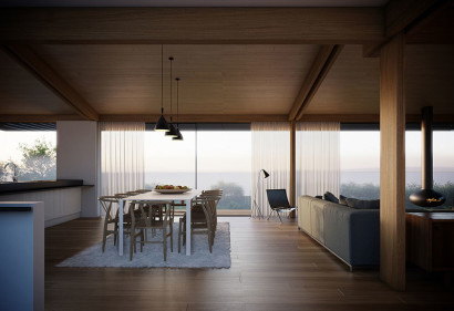 Diseño de comedor y cocina moderna con techo madera