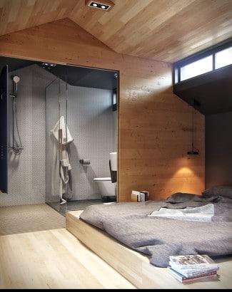 Diseño de dormitorio y cuarto de baño en apartameno pequeño
