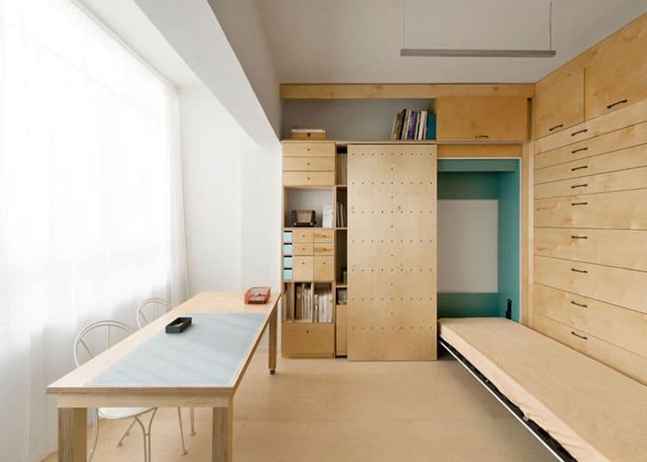 Dise o de mueble modular con cajones apartamento peque o for Diseno de interiores apartamentos pequenos