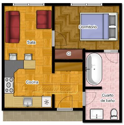 Planos de apartamentos peque os de un dormitorio dise os for Diseno de apartamento de 4x8 mts