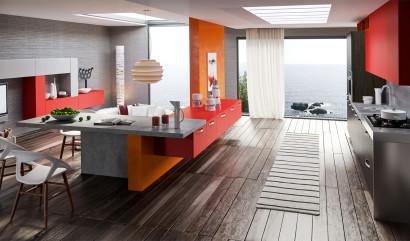 Diseño de moderna cocina en colores vivos