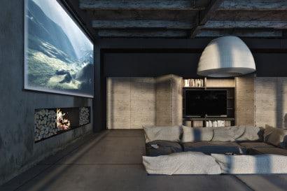 Diseño de sala con chimenea estilo industrial