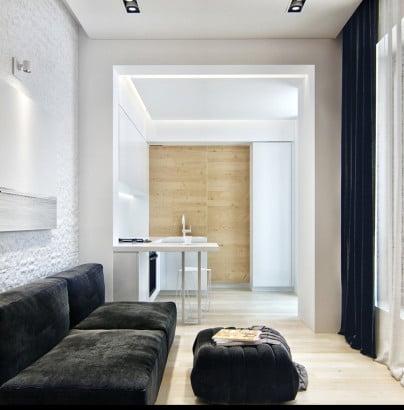Diseño de sala y kitchenet en pequeño apartamento