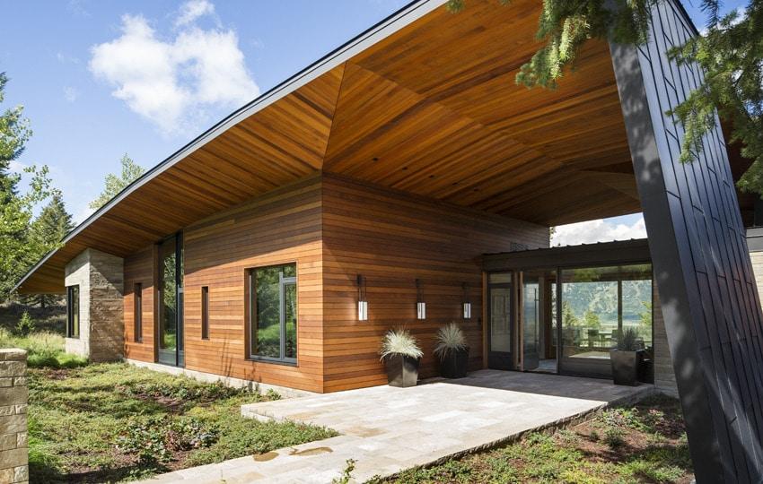 Dise o de moderna casa de campo en madera y piedra for Casa moderna madera