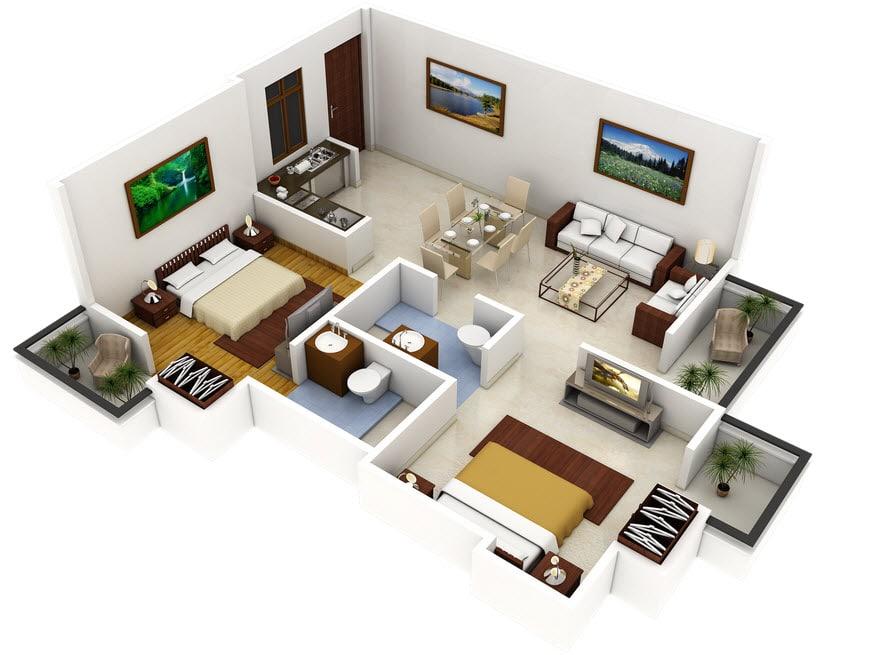 Plano 3d de casa con dos dormitorios construye hogar for Planos casas pequenas modernas