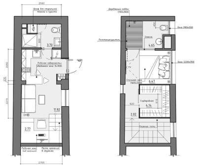 Planos de apartamento pequeño de dos pisos