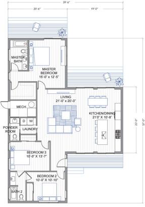 Planos de casa en forma de T de tres dormitorios