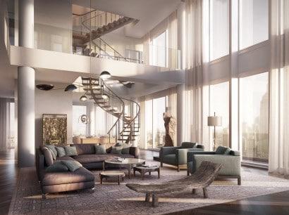 Diseño de interiores de sala de lujo
