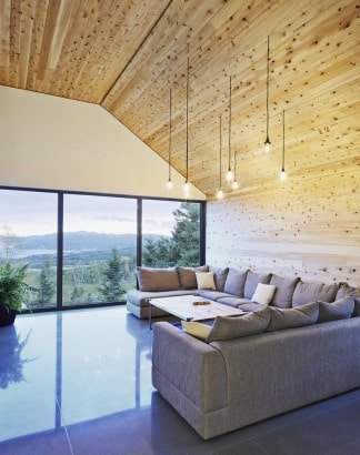 Diseño de interiores sala con vista al bosque