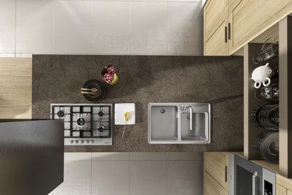 Diseño de isla de cocina moderna lineal 16
