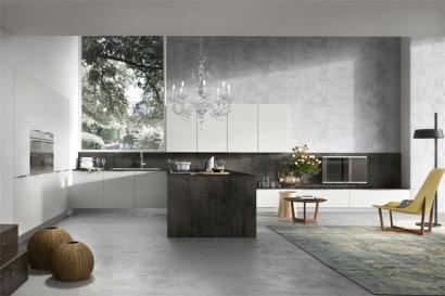 Diseño de moderna y elegante cocina con lámpara de techo 8