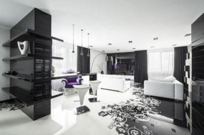 Diseño de sala blanco y negro de apartamento