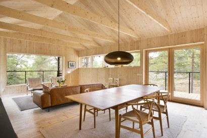Diseño de sala comedor de madera