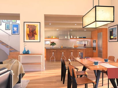 Diseño de sala comedor y cocina de casa dos pisos