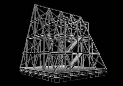 Estructura de madera casa flotante