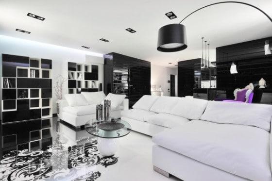 Dise o de moderno apartamento en color blanco y negro for Diseno de un apartamento moderno