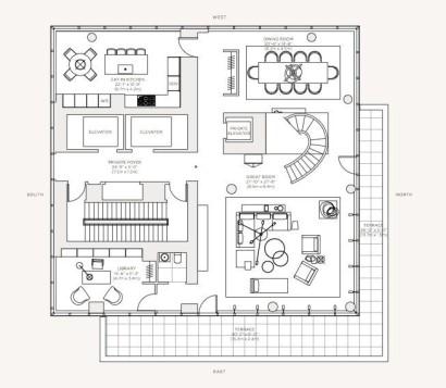 Plano de apartamento de lujo, piso 58