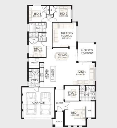 Plano de casa de un piso 2