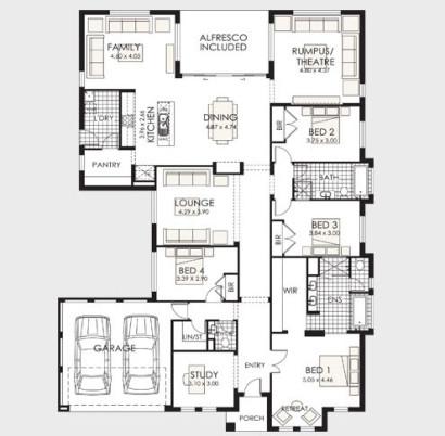 Plano de casa de un piso 5