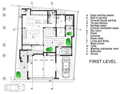 Plano de casa dos pisos primer nivel