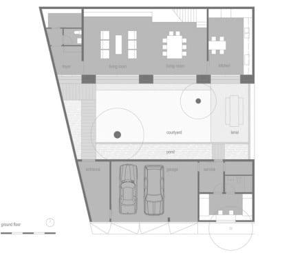 Plano de casa rústica primer piso
