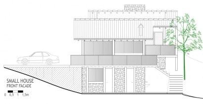 Plano de sección de casa de campo 1