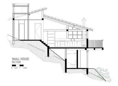 Plano de sección de casa de campo 7