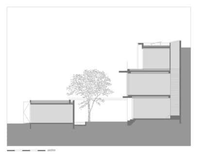 Sección de casa de tres pisos rústica