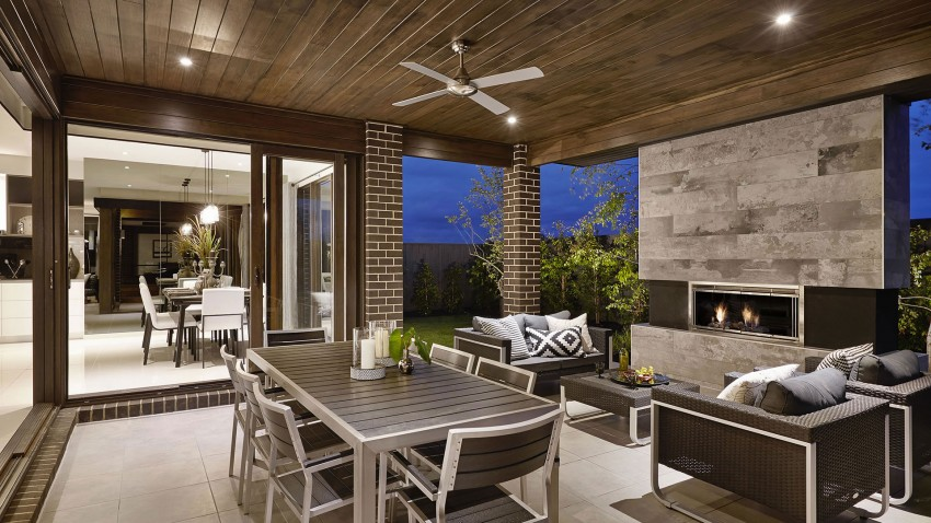 Casa de dos pisos moderna fachada y dise o de interiores for Pisos para interiores de apartamentos