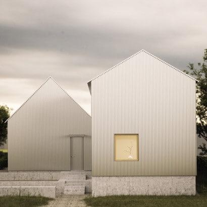 Fachada posterior de casa de aluminio