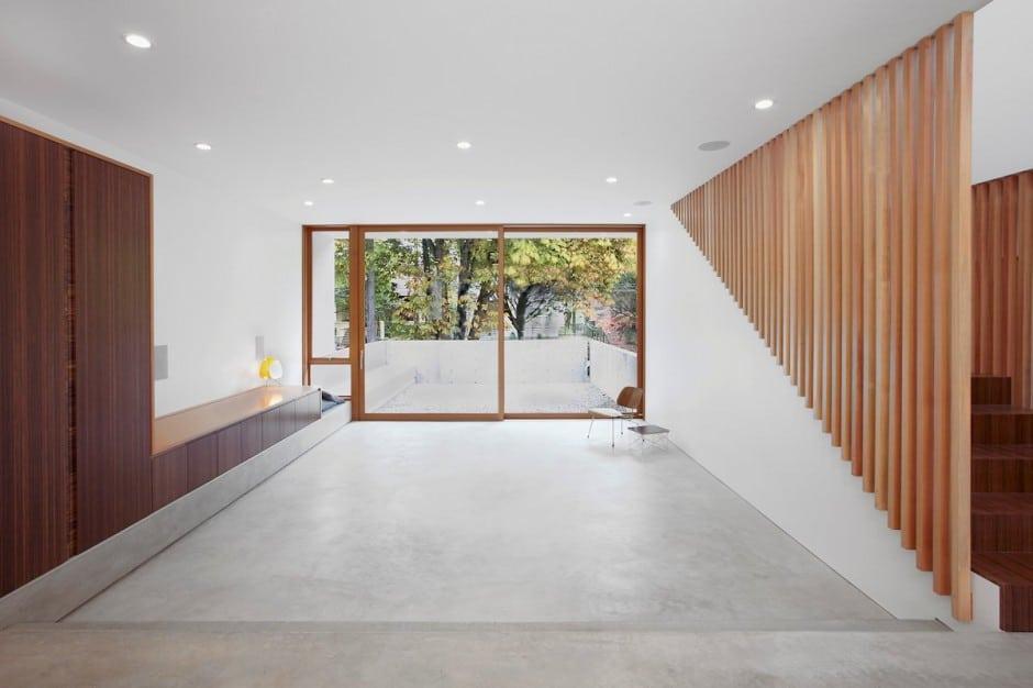 Planos de casa de dos pisos en terreno peque o construye - Piso de cemento pulido blanco ...