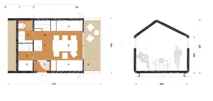 3 nuevos dise os de casas y caba as peque as modulares for Casa clasica 2 dormitorios techo inclinado