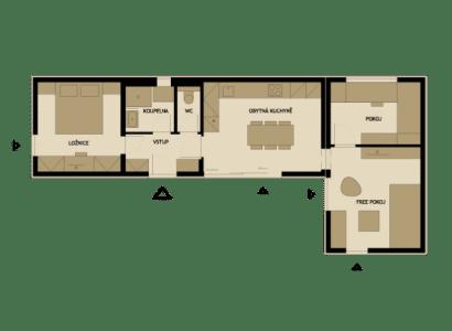 Plano de casa prefabricada en forma de L